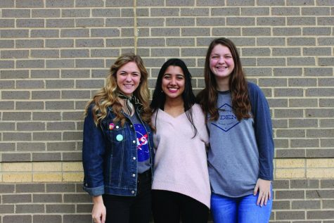 Seniors Lindsay Stapleton, Soha Rizvi and Hallie Dumas (left to right) strive to be breakthrough minds in their respective fields.