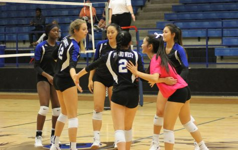 The Lady Wolves celebrate after scoring a point.