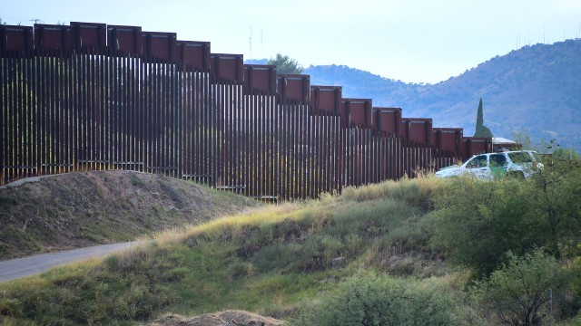 The border fence that separates a part of the United States and Mexico.