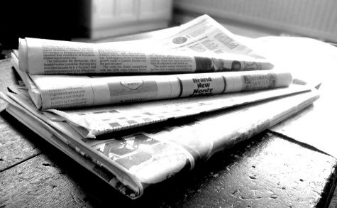 """Newspapers B&W (4)"" by NS Newsflash is licensed under CC BY 2.0"