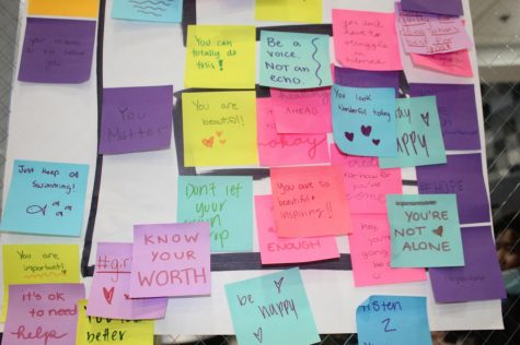 Students from Hope Squad wrote encouraging sticky notes for students to take.
